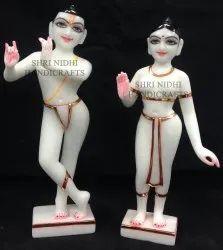 White Marble ISKON Radha Krishna Statue