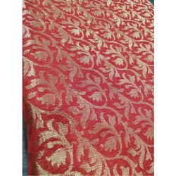 Silk Red Printed Brocade Fabric