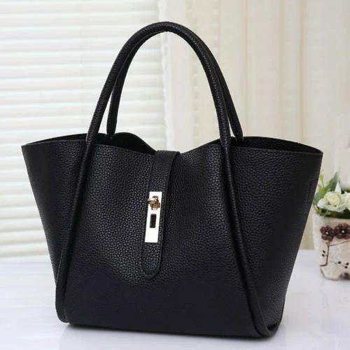Black Plain Ladies Stylish Hand Bag ed71c504bc059