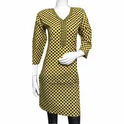 Yellow Polka Dot Cotton Kurti