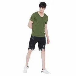 Cotton Olive Patched V-Neck Tee, Size: L