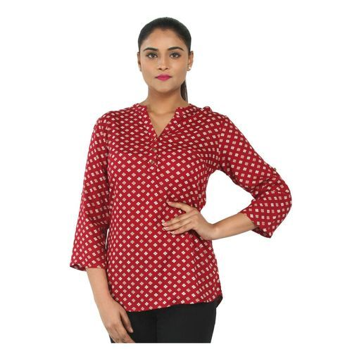 Maroon Ladies Rayon Printed Top