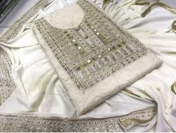 Majisa Collection White Neck Design Chanderi Cotton Dress Material With Dupatta