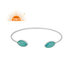 925 Fine Silver Aqua Chalcedony Gemstone Cuff Bangle