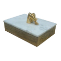 Marble & Wood Box With Metal Knob, Dimension: 8x5.75x3 Inch, Shape: Rectangular