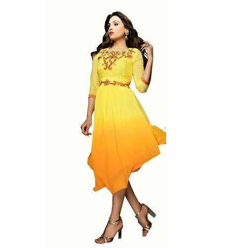 Orange And Yellow Georgette Stylish Frock Style Kurti, Rs 200 /piece ...