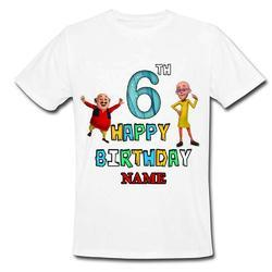f464bfbd2 Polyester Printed Sprinklecart Personalized Motlu And Patlu Themed Birthday  T Shirt , Size: XL