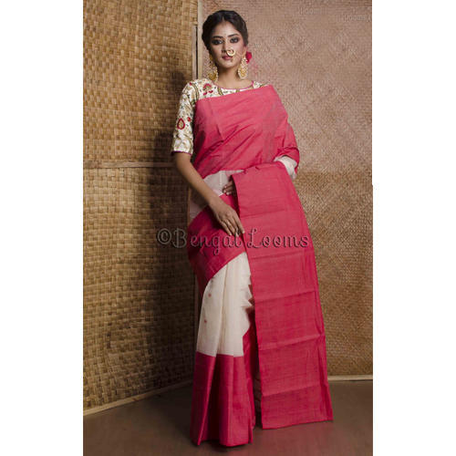 4e157006ad Bengal Handloom Cotton Saree in White and Red, Bengal Cotton Sarees ...