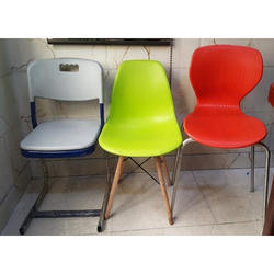 Stainless Steel and Wooden Shell Chair