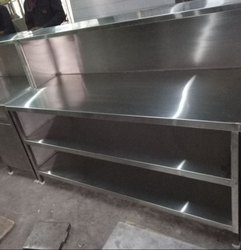 SS Service Counter With 2undershelves & 1 Overheadshelf