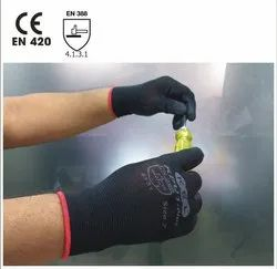 KPU1-Plus Black Nylon Knitted Gloves With Poly Urethane Coating