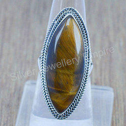 925 Silver Tiger Eye Gemstone Ring