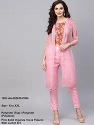 Pink Solid Organza Top & Palazzo With Jacket Set