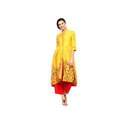 Rayon Yellow Party Wear Palazzo Suit