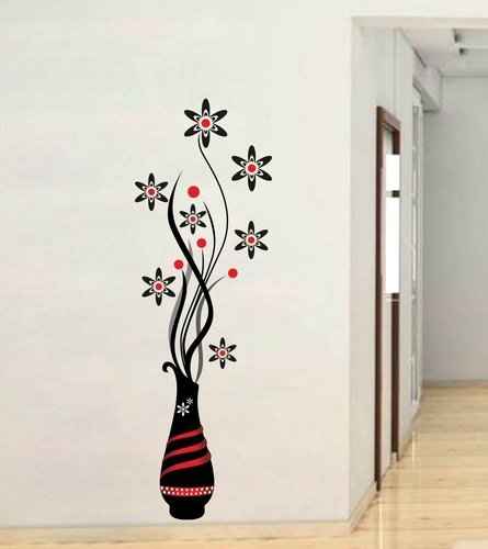 multicolor multiple decor kafe 'beautiful flower pot' wall sticker