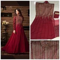 Full Sleeves Georgette Ladies Maroon Long Wedding Gown