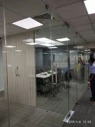 Glass Partition With Patch Fittings Toughened Glass Door Manufacturer From Chennai