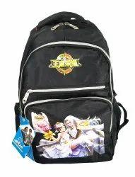 Metal Zip Black School Bag