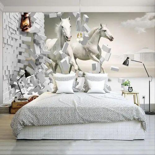 Horizontal 3d Horse Wallpaper Rs 30 Square Feet Kohli Glow