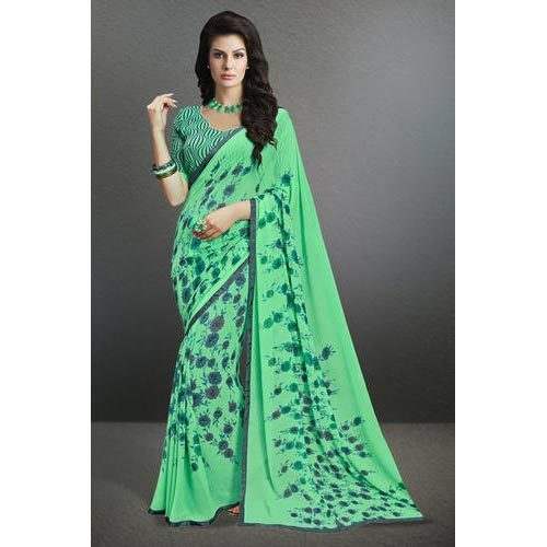 ed722ed3d8 Light Green Casual Wear Designer Indian Georgette Sarees, Rs 950 ...