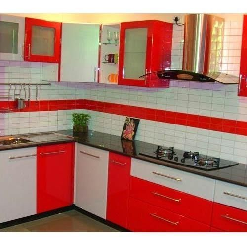 And Red And White Designer Modular Kitchen