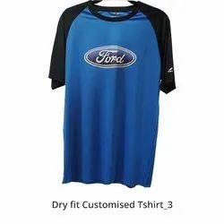 Nivia Polyester Dri Fit Black & Blue T Shirt