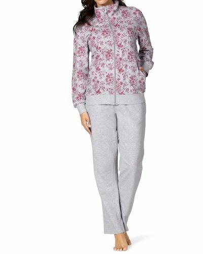 f76f8bfa2a Cotton Night Suits Womens Floral Printed Fleece Pajama Set