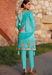 Aqua Blue Embroidered Pant Kameez