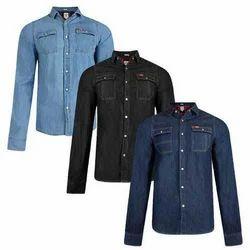 Plain Collar Neck Men's Denim Shirt, Size: S, M, L, XL and XXL