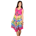 Sleeveless Printed Rayon Batik Dress
