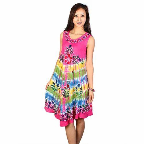 Casual Wear Sleeveless Printed Rayon Batik Dress, Rs 190
