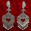 Oxidized Silver Heavy Earrings