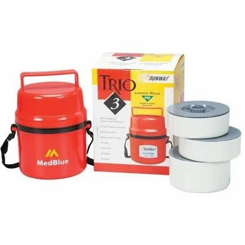 Red Three In One Steel Lunch Box, 3 SS containers