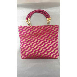 Pink And Golden Party Wear Ladies Straw Hand Bag