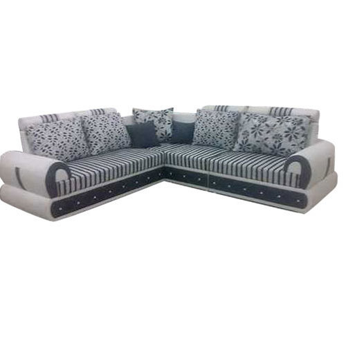 Teak Wood Microfibre L Shape Sofa