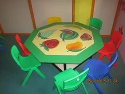 Plastic Rectangular Kids Angle Round Table, For Home