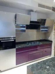 Parallel Shape Stainless Steel Modular Kitchen, Warranty: 10-15 Years