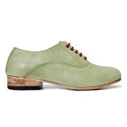 Lite Green Leather Hand Stitched Shoes