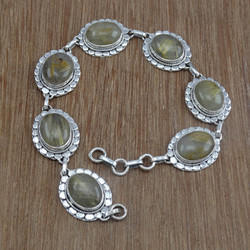 Golden Rutile Gemstone 925 Sterling Silver Bracelet