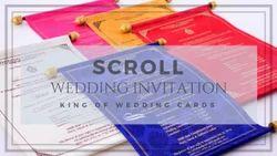 Fabric Scroll Invitations, Dimensions: 8.5