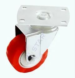 75mm Red PU Plate Type Caster Wheels