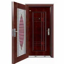 Mild Steel Double Sided Swing Door twin door double door matel door, For Home, Size: 7x3 Feet