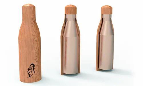 Copper Wooden Water Bottle