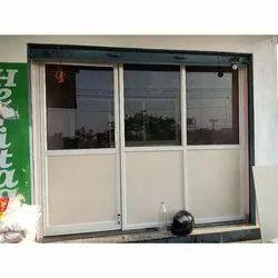White ( Frame Color ) Aluminium Exterior Glass Door, For Shop