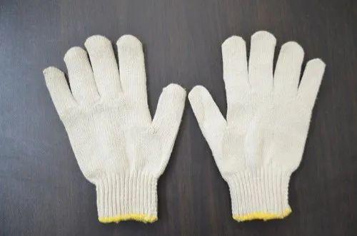 Cotton Yarn Knitted Seamless Safety Hand Gloves - 60 Gram