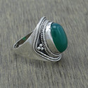 GREEN ONYX GEMSTONE NEW FASHION JEWELRY 925 SILVER FINGER RING WR-1982