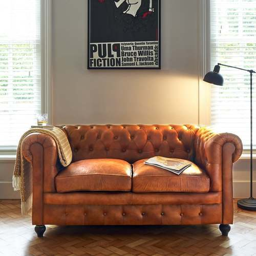 Leather Chesterfield 2 Seater Sofa