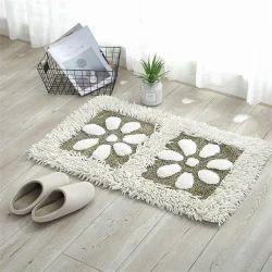 Rectangular Cotton Floral Bathroom Rugs