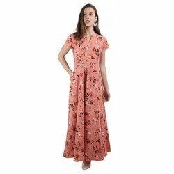 Crepe Half Sleeves Ladies Casual Printed Maxi Dress, Size: S - Xxl