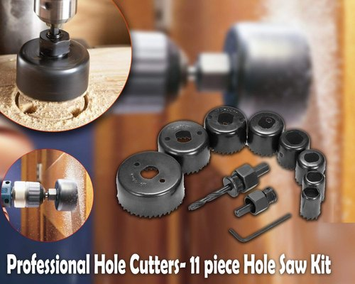 11PC HOLE SAW CUTTING SET KIT WOOD CARBON STEEL CUTTER CIRCULAR ROUND